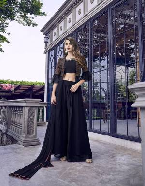 Rich And Elegant Looking Designer Indo-Western Dress Is Here In Navy Blue Color. Its Blouse, Bottom And Jacket Are Fabricated On Georgette Paired With Chiffon Fabricated Dupatta.