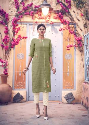 Simple And Elegant Looking Readymade Kurti Is Here In Light Green Color Paired With Cream Colored Bottom. This Kurti Is Silk Based Paired With Viscose Bottom.