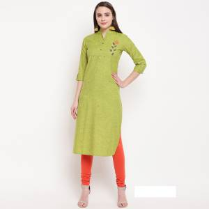 For Your Semi-Casual Wear, Grab This Green Colored Readymade Kurti Fabricated On Rayon Beautified With Hand Work. This Pretty Kurti Is Available In All Regular Sizes.