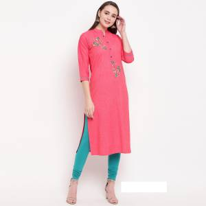 Add This Pretty And Elegant Looking Readymade Straight Kurti In Rani Pink Color Fabricated On Rayon. It Is Beautified With Hand Work. It Is Light Weight And Easy To Carry All Day Long.