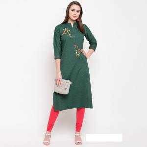 For Your Semi-Casual Wear, Grab This Pine Green Colored Readymade Kurti Fabricated On Rayon Beautified With Hand Work. This Pretty Kurti Is Available In All Regular Sizes.