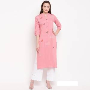 Enhance Your Personality Wearing This Designer Readymade Straight Kurti In Baby Pink Color Fabricated On Rayon. It Has Very Pretty Elegant Resham Work.