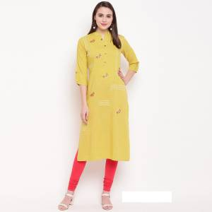 Flaunt Your Rich And Elegant Taste Wearing This Designer Readymade Straight Kurti In Yellow. This Kurti Is Rayon Based Beautified With Resham Work. Buy Now.