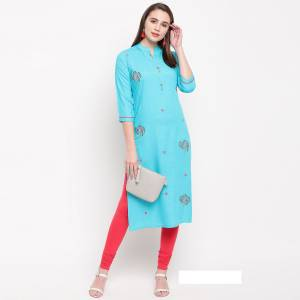 Add This Pretty And Elegant Looking Readymade Straight Kurti In Sky Blue Color Fabricated On Rayon. It Is Beautified With Resham Work. It Is Light Weight And Easy To Carry All Day Long.
