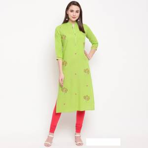 For Your Semi-Casual Wear, Grab This Green Colored Readymade Kurti Fabricated On Rayon Beautified With Resham Work. This Pretty Kurti Is Available In All Regular Sizes.