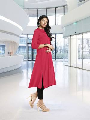 For This Summer, Here Is Cool And Soft Fabricated Readymade Kurti In Dark Pink Color Fabricated On Rayon. This Pretty Kurti Is Available In All Regular Sizes, It Is Soft Towards Skin Which Is Easy To Carry All Day Long In Summers.