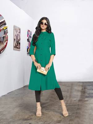 For This Summer, Here Is Cool And Soft Fabricated Readymade Kurti In Sea Green Color Fabricated On Rayon. This Pretty Kurti Is Available In All Regular Sizes, It Is Soft Towards Skin Which Is Easy To Carry All Day Long In Summers.