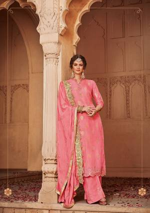 Celebrate This Festive And Wedding Season With Beauty And Comfort In This Heavy Designer Straight Suit In Pink Color. It Top Is Fabricated On Jacquard Silk Paired With Santoon Bottom and Chinon Fabricated Dupatta. Buy Now.