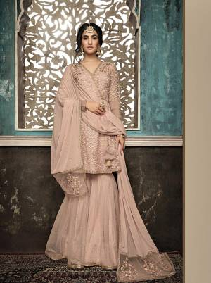 Most Favourite Color Of The Trend In Here With this Heavy Designer Sharara Suit In Blush Pink Color. Its Beautiful Top And Bottom Are Net Based Paired With Chiffon And Net Fabricated Dupatta. Its Pretty Color And Attractive Embroidery Will Give You A Look Like Never Before.