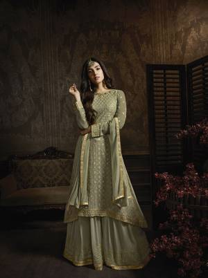 This Season Is About Subtle Shades And Pastel Play, So Grab This Beautiful Designer Indo-Western Suit In Pastel Green Color. Its Top And Bottom Are Georgette Based Paired With Chiffon Fabricated Dupatta. Buy Now.