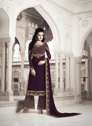 Here Is A Beautiful Heavy Designer Suit In All Over Wine Color. Its Heavy Embroidered Top And Dupatta Are Georgette Based Paired With Soft Silk Bottom. Its Fabrics Are Light Weight And Easy To Carry All Day Long.