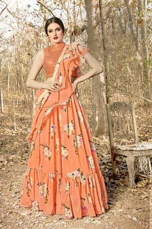You Will Definitely Earn Lots Of Compliments Wearing This Designer Readymade Lehenga Choli In Orange Color. This Lovely Lehenga Choli And Dupatta Are Georgette Based Which IS Light Weight And Easy To Carry Throughout The Gala.