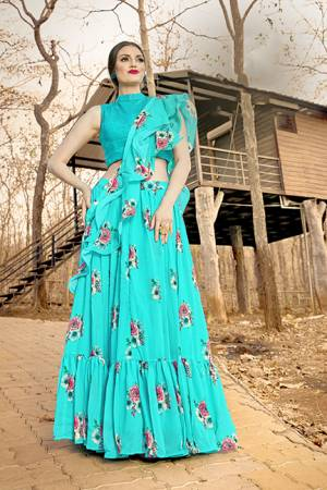 You Will Definitely Earn Lots Of Compliments Wearing This Designer Readymade Lehenga Choli In Sky Blue Color. This Lovely Lehenga Choli And Dupatta Are Georgette Based Which IS Light Weight And Easy To Carry Throughout The Gala.