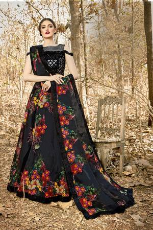For A Bold And Beautiful Look Grab This Designer Readymade Lehenga Choli In Black Color. Its Blouse Is Fabricated On Velvet Paired With Orgenza Fabricated Lehenga And Dupatta. Buy Now.
