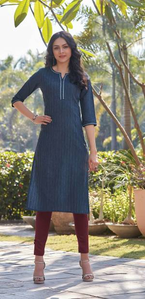 Here Is A Pretty Simple And Elegant Straight Kurti In Blue Color For Your Casual Or Semi-Casual Wear. It Is Fabricated On South Cotton And You Can Pair This Up With Leggings, Plazzo Or Pants. This Readymade Kurti Is Available In All Regular Sizes.