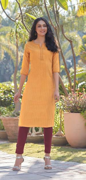 Here Is A Pretty Simple And Elegant Straight Kurti In Musturd Yellow Color For Your Casual Or Semi-Casual Wear. It Is Fabricated On South Cotton And You Can Pair This Up With Leggings, Plazzo Or Pants. This Readymade Kurti Is Available In All Regular Sizes.