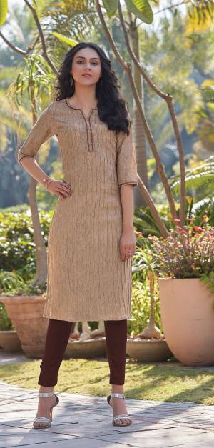Here Is A Pretty Simple And Elegant Straight Kurti In Beige Color For Your Casual Or Semi-Casual Wear. It Is Fabricated On South Cotton And You Can Pair This Up With Leggings, Plazzo Or Pants. This Readymade Kurti Is Available In All Regular Sizes.