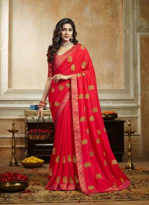 Grab This Pretty Attractive Saree In Dark Pink Color. This Saree Is Fabricated On Soft Art Silk Paired With Brocade Fabricated Blouse. It Has Attractive Jari Embroidered Motifs Highlited With Stone Work. Its Rich Fabric And Color Will Earn You Lots Of Compliments From Onlookers.
