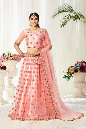 Heavy Designer Lehenga Choli In Pink Color Fabricated On Net Beautified With Heavy Attractive Embroidery.