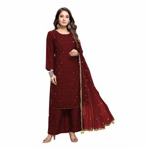 Heavy Designer Rayon Mirror Embroidery Readymade Plazzo Suit with Dupatta.