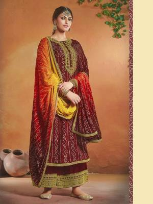 Tusser silk Shtraight Kammeez Plazzo Style Salwar Kameez. The Floral, Embroidered work, Multi Work Personifies The Entire Appearance. Comes with Matching Plazzo in bottom side Embroidered work, and full Chinon Dupatta with 2 side embroidery.