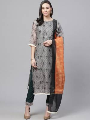 Look pretty this designer long length suit in lovely color? It?s pretty designer digital printed top is chanderi based paired with rayon bottom and chanderi fabricated dupatta which gives an attractive to the suit.