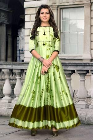 Stylish Designer Light Green Japan Stain Digital Printed Readymade Western Gown
