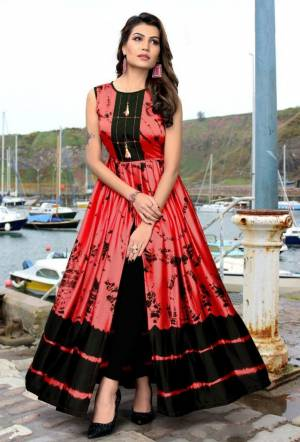 Stylish Designer Pink Japan Stain Digital Printed Readymade Western Gown