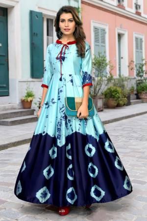 Stylish Designer Sky Blue Japan Stain Digital Printed Readymade Western Gown
