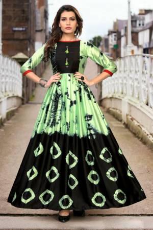 Stylish Designer Pista Green Japan Stain Digital Printed Readymade Western Gown