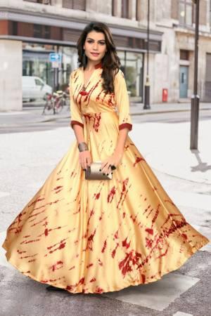 Stylish Designer Beige Japan Stain Digital Printed Readymade Western Gown