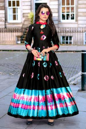 Stylish Designer Black Japan Stain Digital Printed Readymade Western Gown