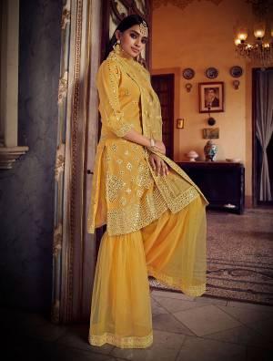 Beautiful Designer Organza Thread Embroidery Semi-Stitched Plazzo Suit