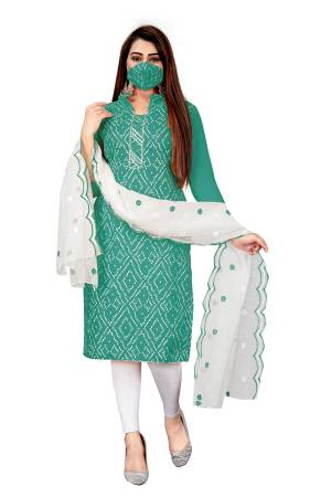 Beautiful Designer Printed Salab Cotton Suit with Embroidery Work Dupatta