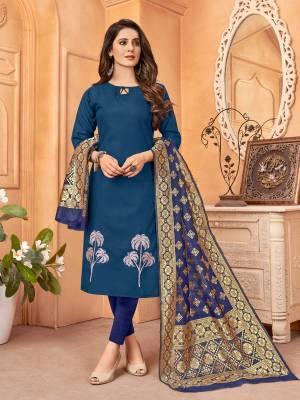 Beautiful Designer Handloom Slab Embroidery Salwar Suit