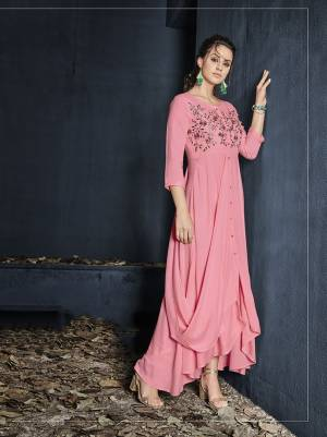 Look Pretty In This Designer Readymade Gown In Pink Color With A Graceful Drape Pattern And Thread Work. This Gown Is Fabricated On Rayon Which Is Soft Towards Skin And Ensures Superb Comfort All Day Long.