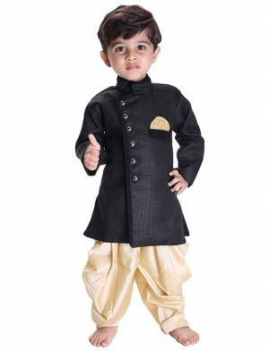 This Festive Season Give Your Child A Cute Traditional Look Wearing This Designer Readymade Sherwani Which Is Cotton Silk Based. Its Fabric Has Rich Feel And Light In Weight, Also It Is Available In All Sizes. Choose As Per The Desired Fit And Comfort. Buy Now.
