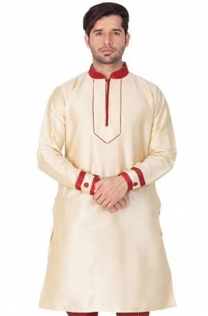 Grab This Amazing Readymade Kurtas For Men Fabricated On Cotton Silk.?This Kurta Is Suitable For Festive Wear Or Any Wedding Functions. It Is Light In Weight and Can Be Paired With Any Kind Of Bottom Like Chudidar, Pyjama Or Even Denims. Its Fabric Gives A Rich Look To Your Personality And Ensures Superb Comfort All Day Long. Avialable In All Sizes. Buy Now.