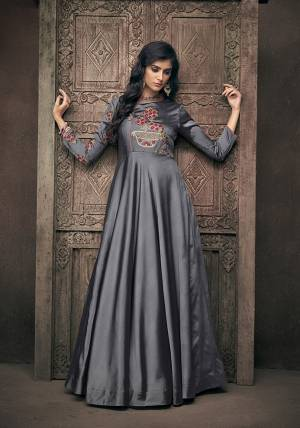 Enhance Your Personality Wearing This Designer Readymade Gown In Dark Grey Color. This Pretty Heavy Embroidered Gown IS Fabricated On Satin Silk Which Gives A Rich And Elegant Look To Your Personality.