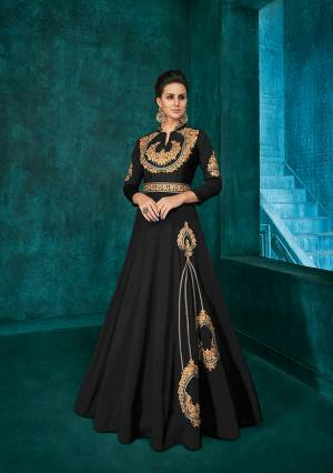 Bold And Beautiful Color Is Here With This Very Beautiful Designer Readymade Gown In Black Color Fabricated Soft Art Silk. It Is Beautified With Minimal Elegant Looking Embroidery Which Will Earn You Lots Of Compliments From Onlookers