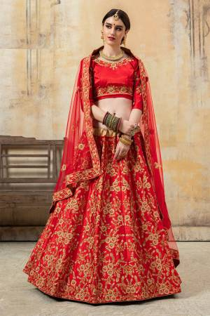 Heavy Embroidered Designer Lehenga Choli IS Here In All Over Red Color. Its Pretty Embroidered Blouse And Lehenga Are Satin Based Paired With Net Fabricated Dupatta.