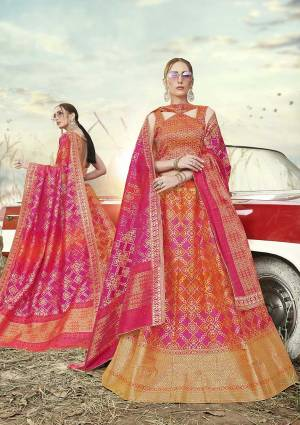 Go With Pretty Shades Wearing This Heavy Weaved Designer?Lehenga Choli In Orange And Pink Color Paired With Rani Pink Colored Dupatta. Its Blouse Is Fabricated On Banarasi Art Silk Paired With Banarasi Jacquard Silk Lehenga And Dupatta