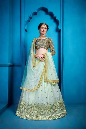 Add This Very Beautiful Designer Lehenga Choli To Your Wardrobe In Dark Grey Colored Blouse Paired With Pastel Blue Colored Lehenga And Dupatta. Its Blouse Is Fabricated On Art Silk Paired With Net Fabricated Lehenga And Dupatta. It Has Very Pretty And Attractive Embroidery Which Will Definitely Earn You Lots Of Compliments From Onlookers.