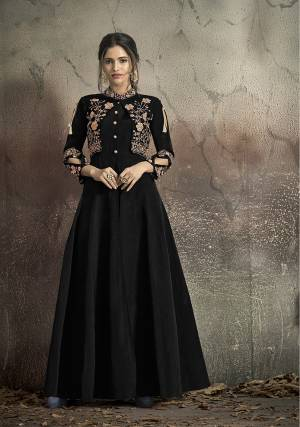 Here Is A Solution For Your Party Wear Dresses With This Designer?Readymade Gown In Black Color Fabricated On Tafeta Art Silk. It Has Very Beautiful Pattern With Detailed Embroidery And Available In All Regular Sizes. Buy Now.