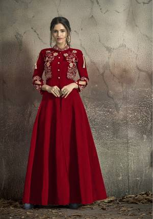 Here Is A Solution For Your Party Wear Dresses With This Designer?Readymade Gown In Red Color Fabricated On Tafeta Art Silk. It Has Very Beautiful Pattern With Detailed Embroidery And Available In All Regular Sizes. Buy Now.
