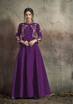 Here Is A Solution For Your Party Wear Dresses With This Designer?Readymade Gown In Light Purple Color Fabricated On Tafeta Art Silk. It Has Very Beautiful Pattern With Detailed Embroidery And Available In All Regular Sizes. Buy Now.