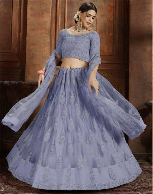 Here Is Very Elegant Looking Heavy Designer Lehenga Choli For The Upcoming Wedding Season In Pretty Powder Blue Color. This Lehenga , Choli And Dupatta Are Fabricated On Net Beautified With Heavy Detailed Embroidery. Buy Now.