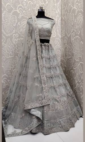 This Wedding Season, Look The Most Graceful Of All Wearing This Heavy Designer Elegant Lehenga Choli In Grey Color. Its Blouse, Lehenga And Dupatta are Fabricated on Net Beautified With Tone To Tone Coding And Resham Embroidery With Stone Work. Buy Now.