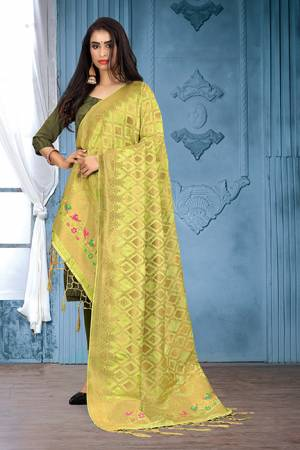 Enhance Your Look of gown and lehenga choli Or A Simple Kurti With Latest Trends Of Banarasi Dupatta Beautified With Attractive Weave All Over. You Can Pair This Up With Any Kind Of Ethnic Attire And In Same Or Contrasting Colored Attire