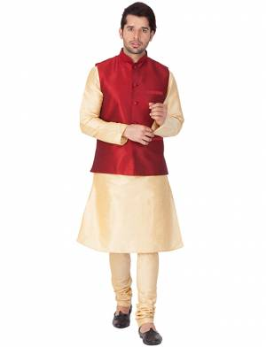 Here Is A Rich And Decent Looking Readymade Pair Of Men's Kurta Pyjama In Cream Color Paired With Red Colored Jacket. This Kurta And Pyjama Are Fabricated On Cotton Silk Paired With Art Silk Fabricated Jacket. Buy This Pair For The Upcoming Wedding And Festive Season.